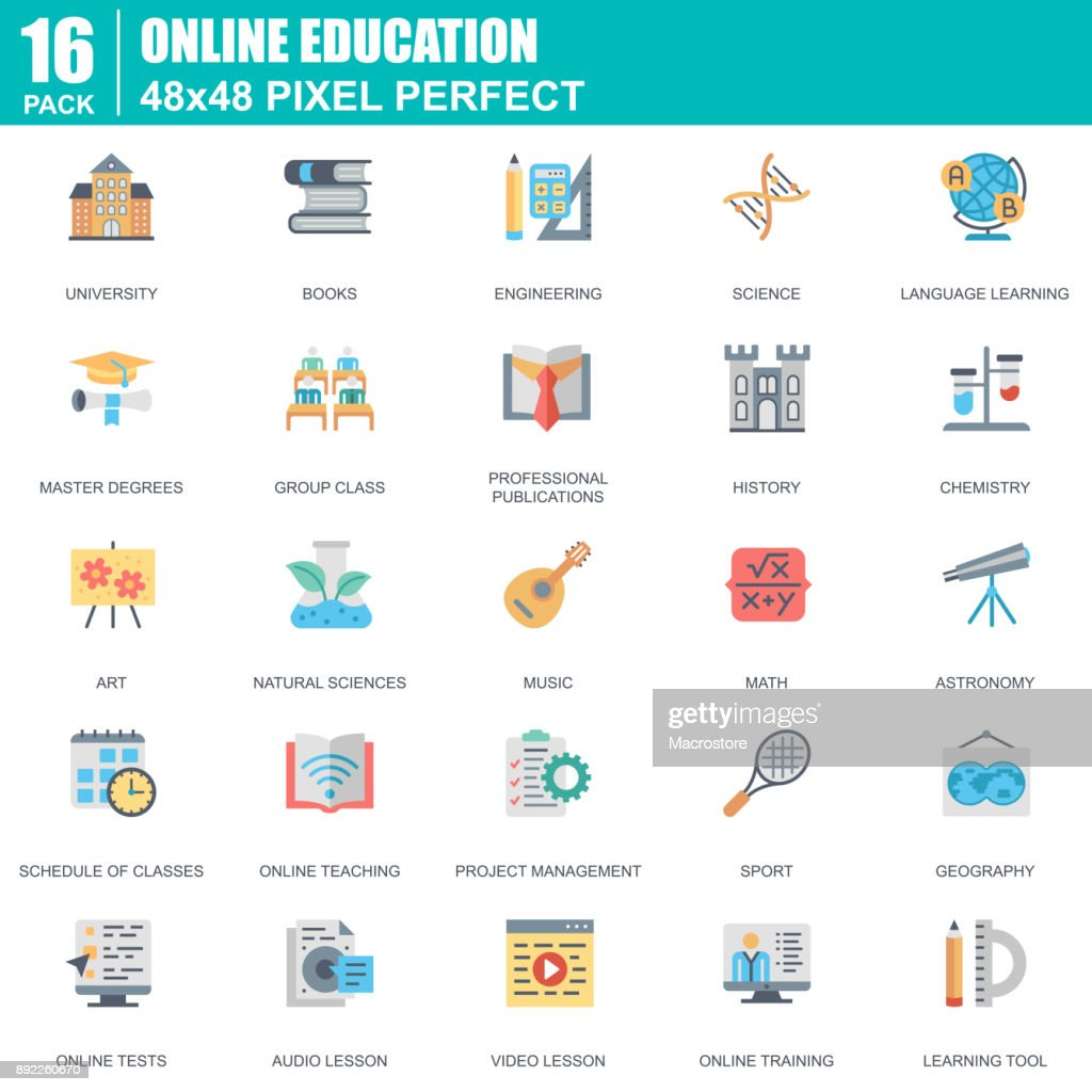 Flat online education, e-learning, e-book icons set for website
