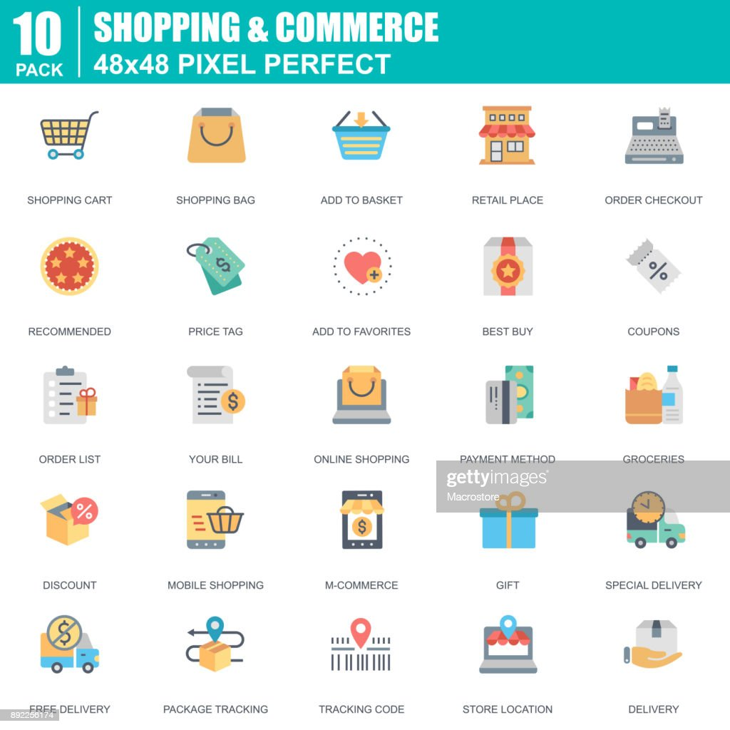 Flat online shopping and e-commerce icons set for website