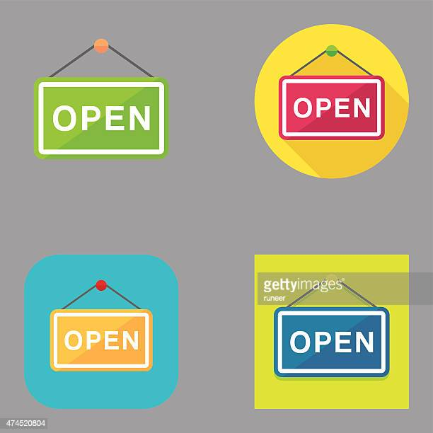 flat open sign icons | kalaful series - open sign stock illustrations, clip art, cartoons, & icons