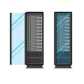 Flat Opened and closed black adjustable computer server racks isolated on white background vector illustration. Database concept.