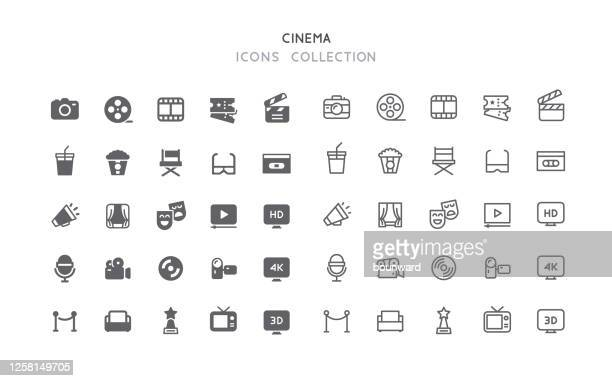 flat & outline cinema icons - film industry stock illustrations