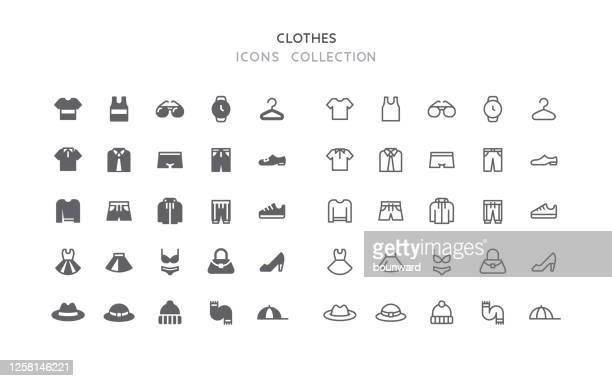 illustrazioni stock, clip art, cartoni animati e icone di tendenza di icone dei vestiti piatti e contorno - pantaloncini