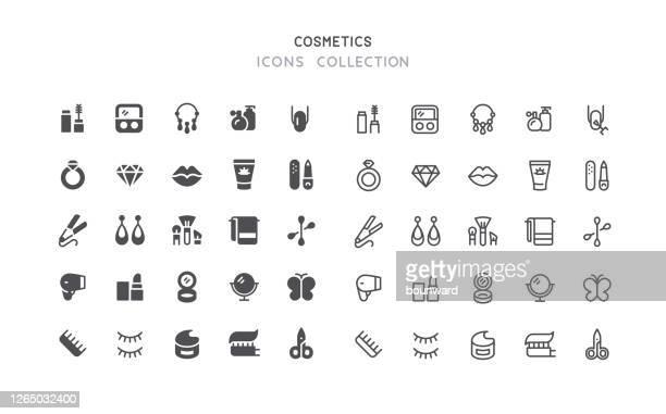 illustrazioni stock, clip art, cartoni animati e icone di tendenza di icone di bellezza cosmetici flat & outline - bellezza