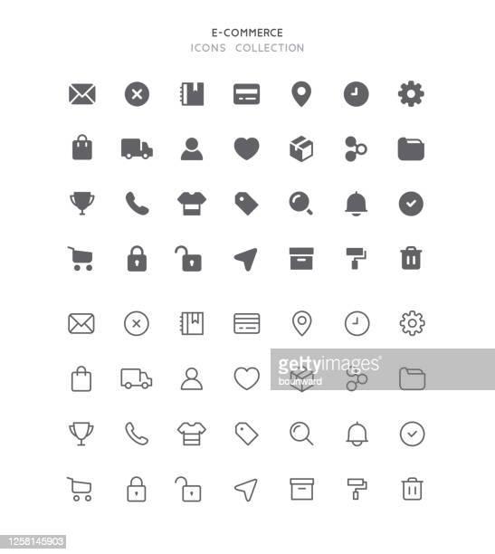 flat & outline e-commerce user interface icons - elektronischer handel stock-grafiken, -clipart, -cartoons und -symbole
