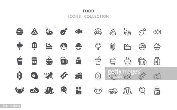 flat & outline food icons - gelatin dessert stock illustrations