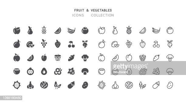 flat & outline fruit vegetables icons - blackberry fruit stock illustrations