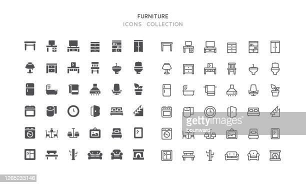 ilustrações de stock, clip art, desenhos animados e ícones de flat & outline furniture icons - cama