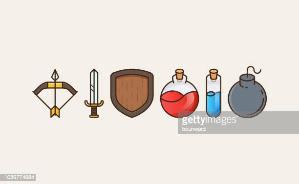 flat outline game icons - potion stock illustrations