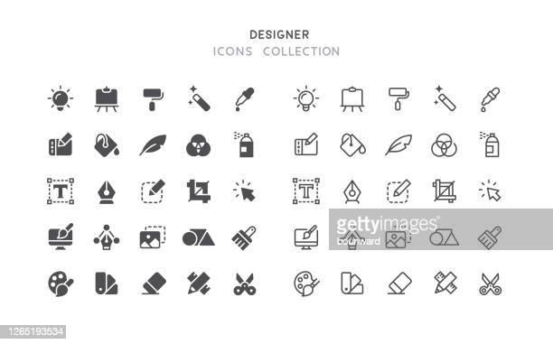 illustrazioni stock, clip art, cartoni animati e icone di tendenza di icone dei grafici flat & outline - pittore
