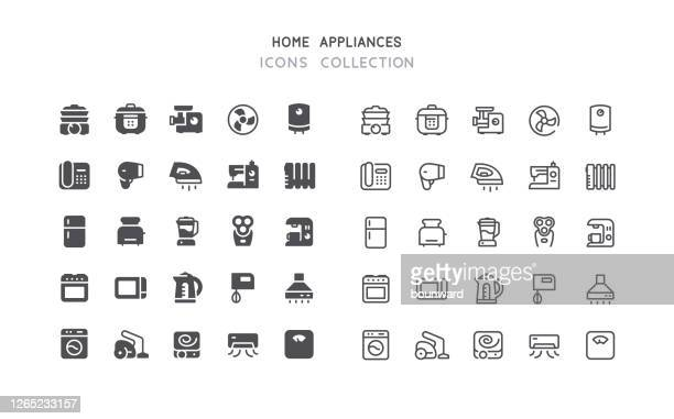 flat & outline home appliances icons - electric fan stock illustrations