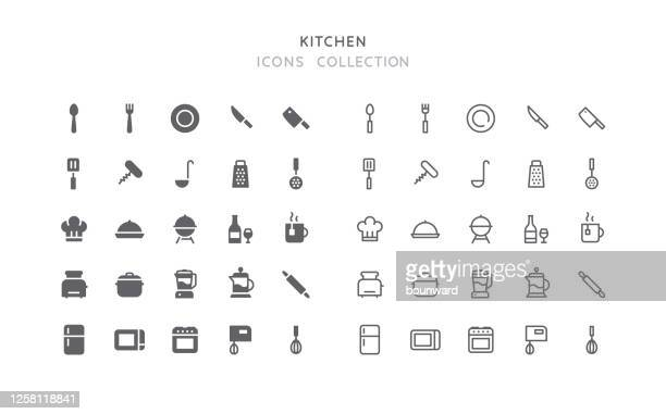 flat & outline kitchen icons - stew pot stock illustrations