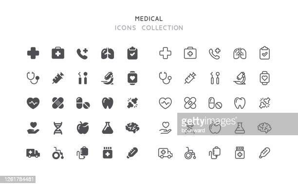 フラット&アウトライン医療アイコン - 検眼医点のイラスト素材/クリップアート素材/マンガ素材/アイコン素材