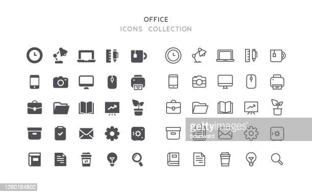 flat & outline office icons - briefcase stock illustrations