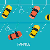 Flat parking a car background concept. Vector illustration design