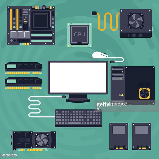 flat pc components and computing - computer part stock illustrations