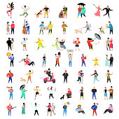 Flat People Characters Collection. Man and Woman Cartoons in Various Actions, Poses and Activities. Couples, Family and Musicians. Vector illustration