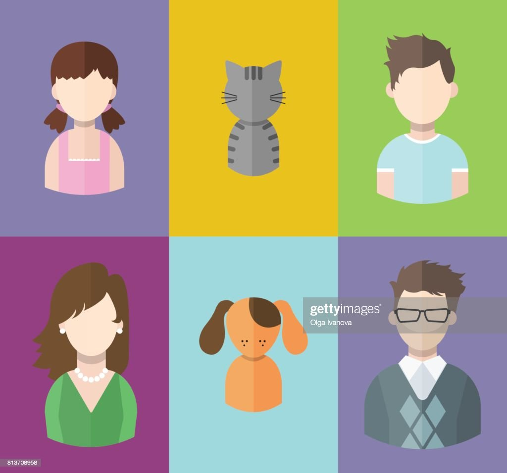 Flat people icons (mother, father and their son, daughter and pets. Family. Segment of population