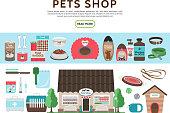 Flat Pets Shop Elements Collection