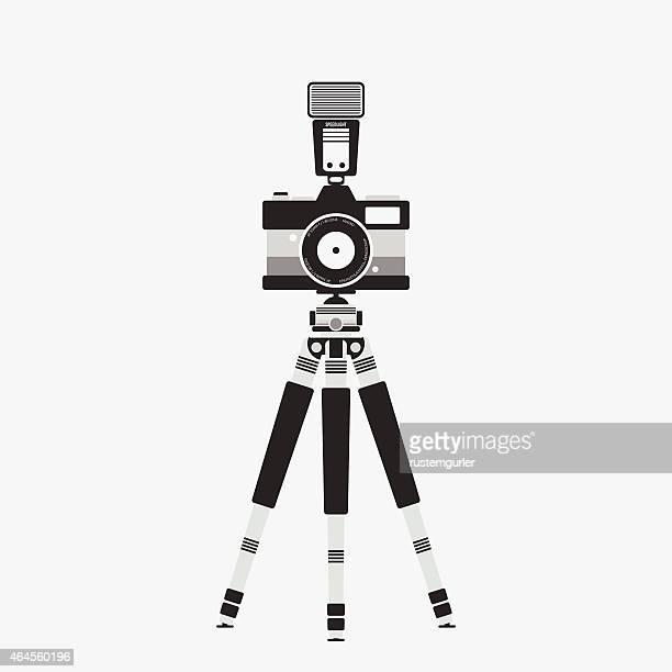 flat photo camera - camera tripod stock illustrations, clip art, cartoons, & icons