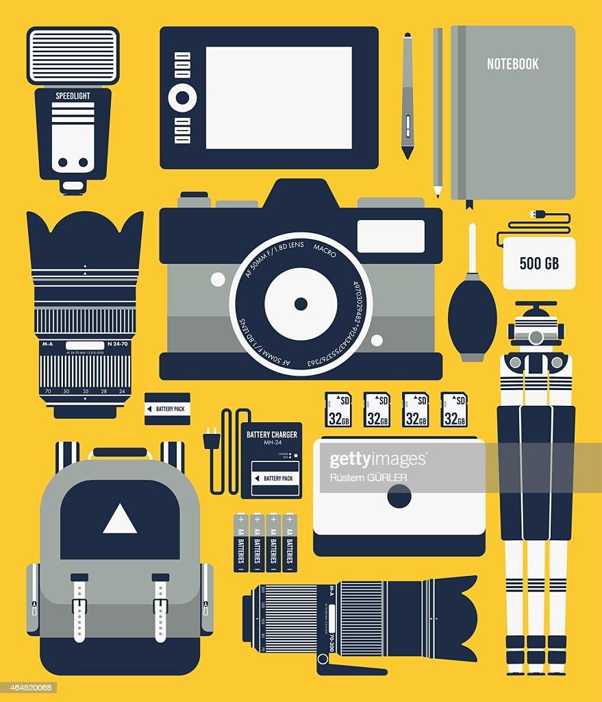 Flat Photographer Equipments : stock illustration