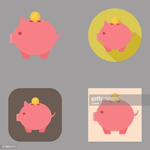flat piggy bank icons   kalaful series - piggy bank stock illustrations