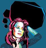 Flat polygon portrait of a woman.