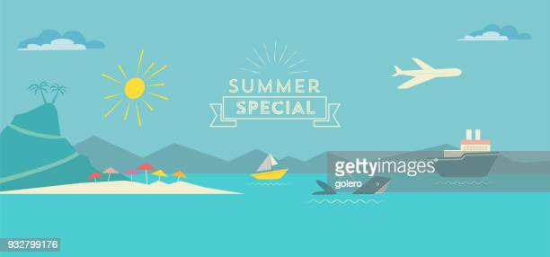 flat polygonal summer landscape illustration with whale and ships on sea - island stock illustrations