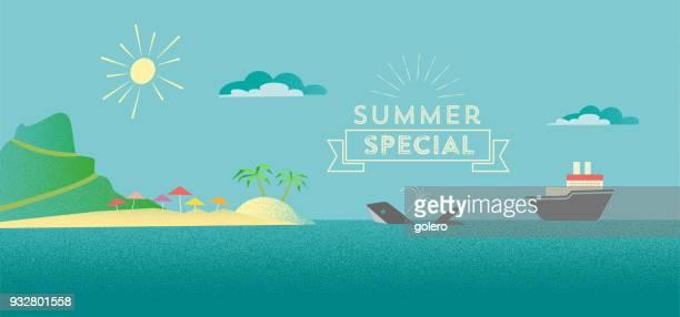 鯨と海の船フラット多角形夏の風景イラスト