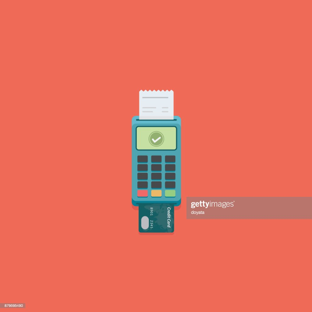 Flat Pos payment terminal and credit card. Cashless payment Illustration