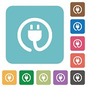 Flat power cord icons