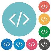Flat programming code icons