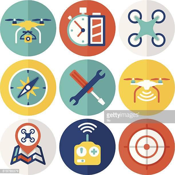 ilustraciones, imágenes clip art, dibujos animados e iconos de stock de quadcopter iconos plana - drone
