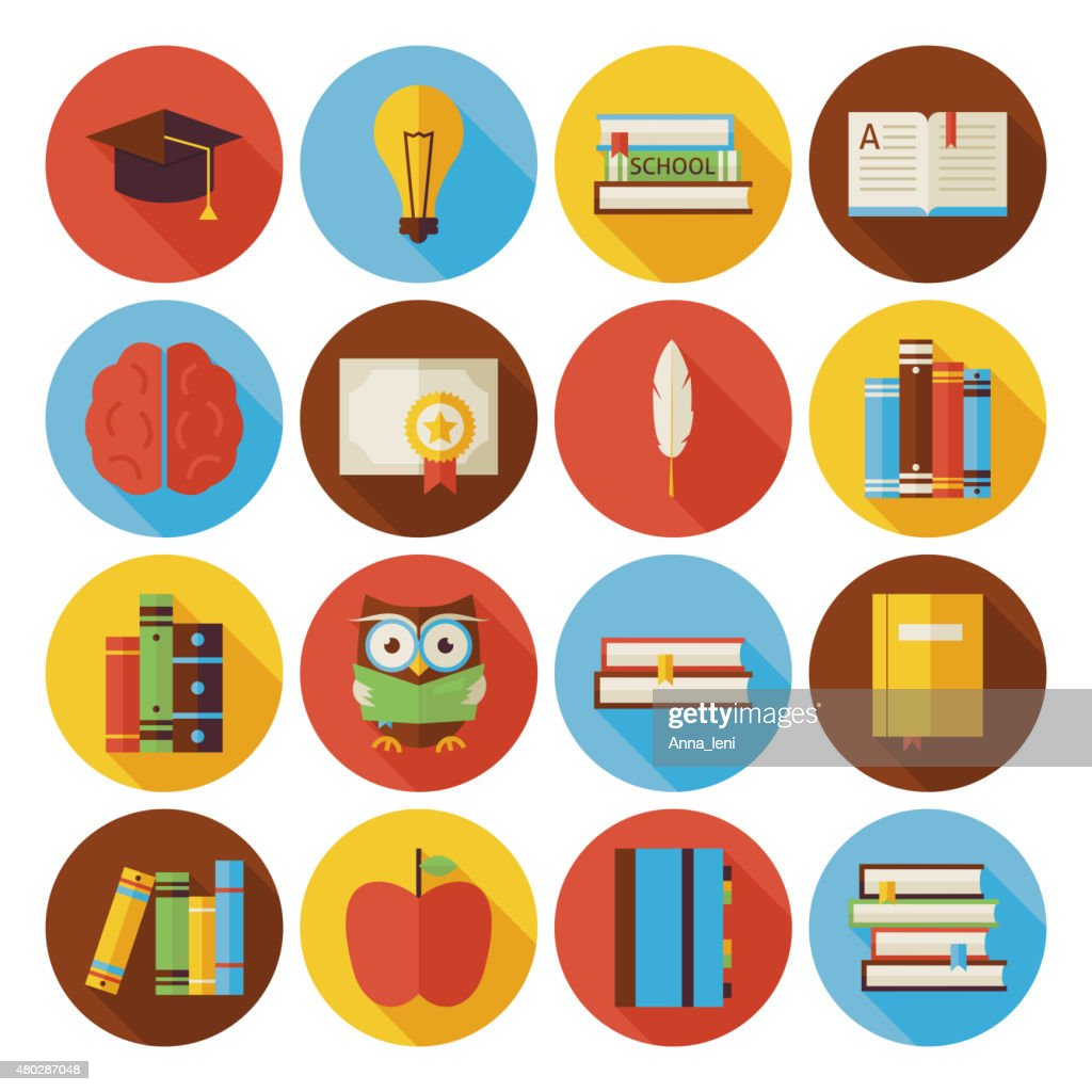 Flat Reading Knowledge and Books Circle Icons Set with Shadow