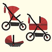 Flat red baby carriage transformer icon. Vector childrens pram 3 in 1 symbol
