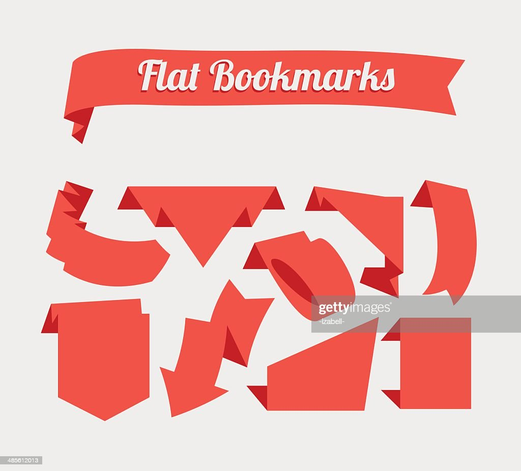 Flat red bookmarks