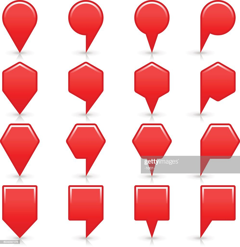 Flat red color map pin sign location icon