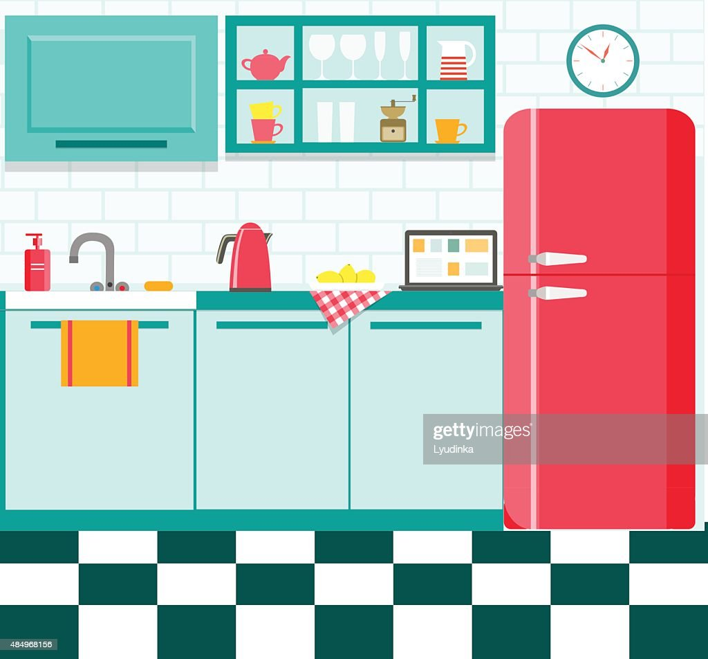 flat retro kitchen with checkered floor