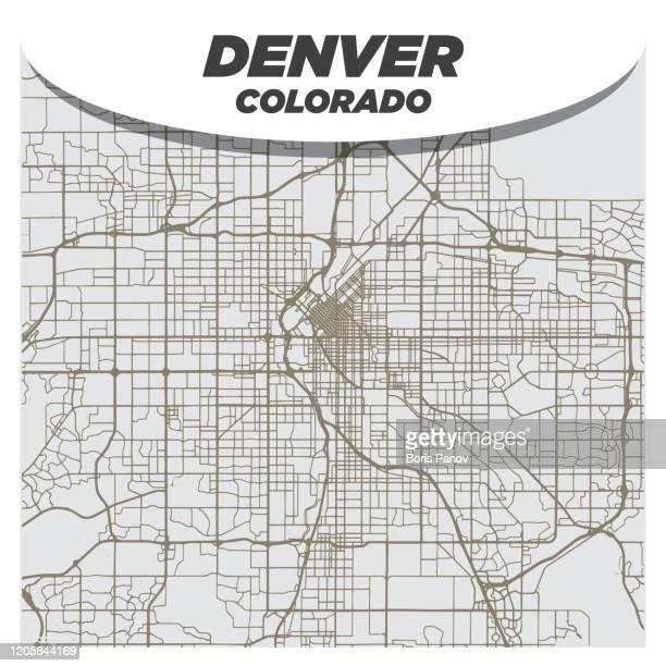 flat retro style city street map of denver colorado on neutral background - denver stock illustrations
