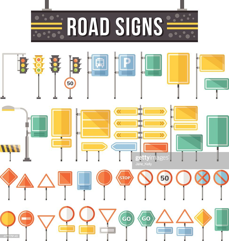 Flat road signs set. Traffic signs graphic elements