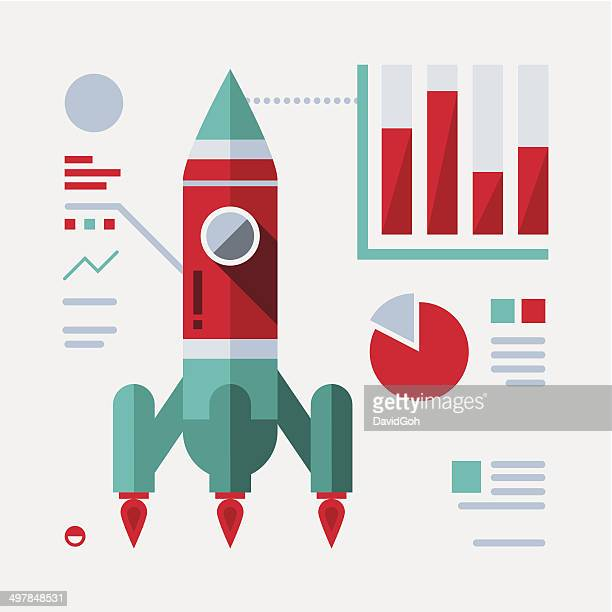 Flat Rocket Illustration