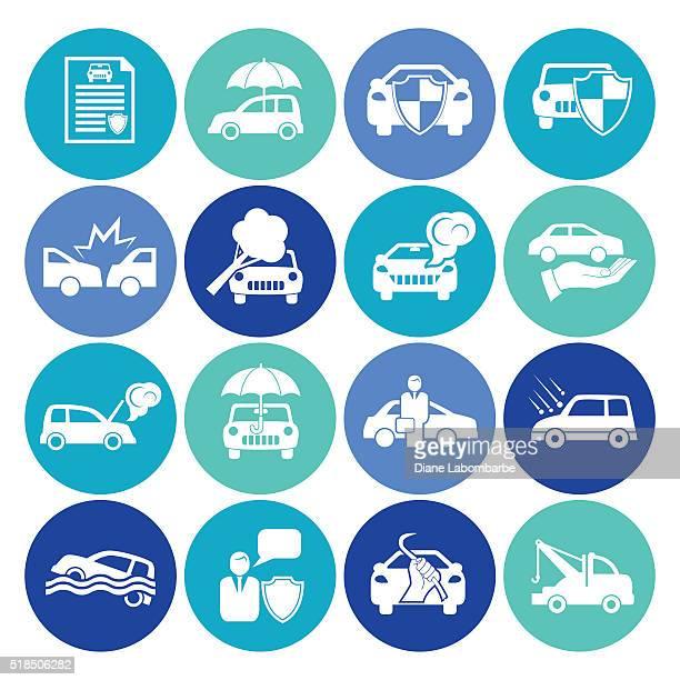 flat round automotive insurance icon set - hailstone stock illustrations, clip art, cartoons, & icons
