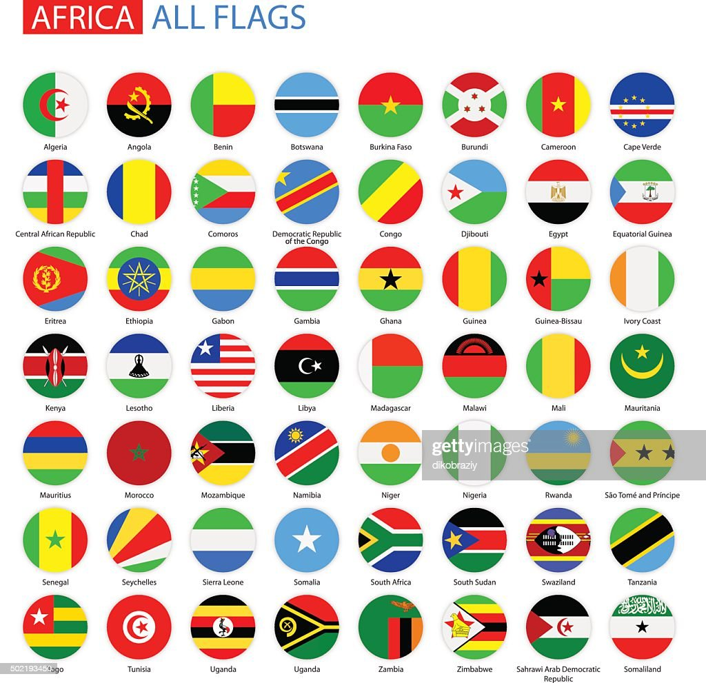 Flat Round Flags of Africa - Full Vector Collection