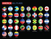 Flat Round Flags of America on Black Background - Collection