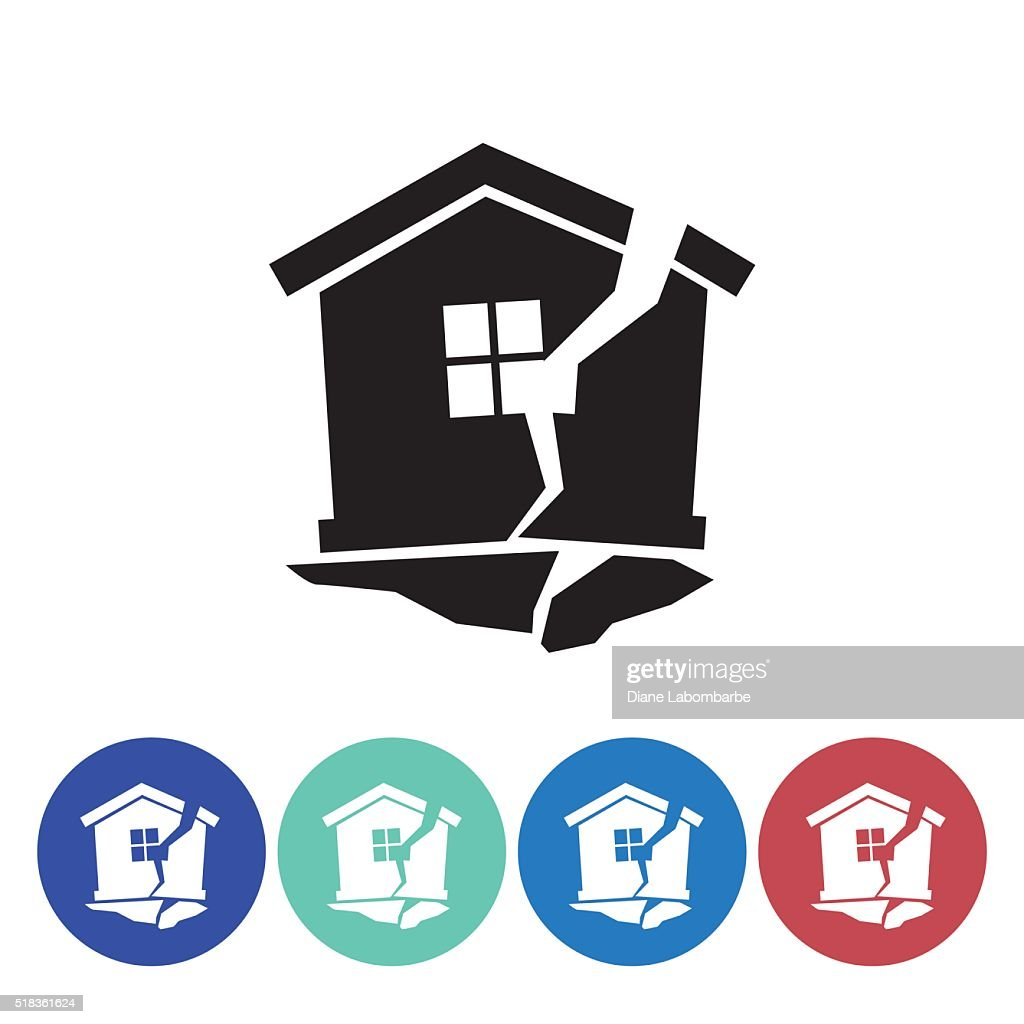 Flat Round Homeowners Insurance Icon Set