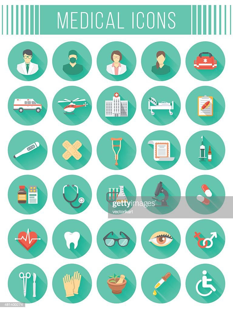Flat round vector medical and healthcare icons with long shadows