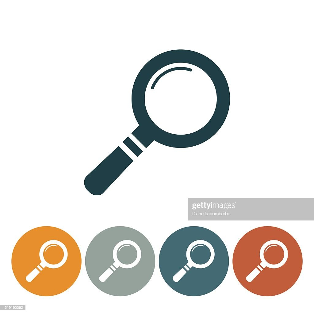 Flat Round Wedsite Icon - Magnifying Glass