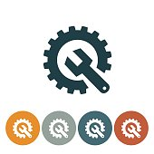 Flat Round Wedsite Icon - Technical Support