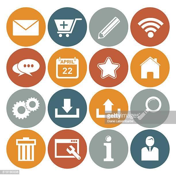 flat round wedsite icons - web navigation set - abc broadcasting company stock illustrations
