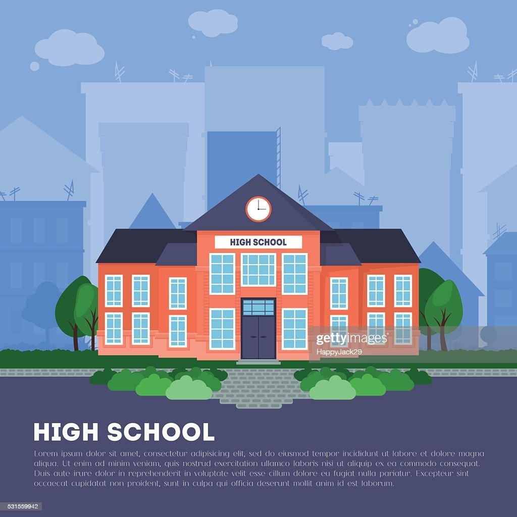 Flat school building in big city