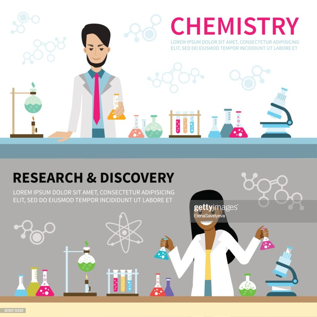 Flat science and chemistry horizontal vector banner